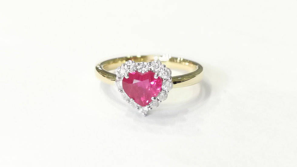 18ct Yellow Gold Heart Ruby and Diamond Ring