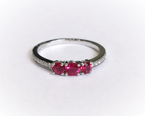 18ct White Gold Three Stone Ruby Ring