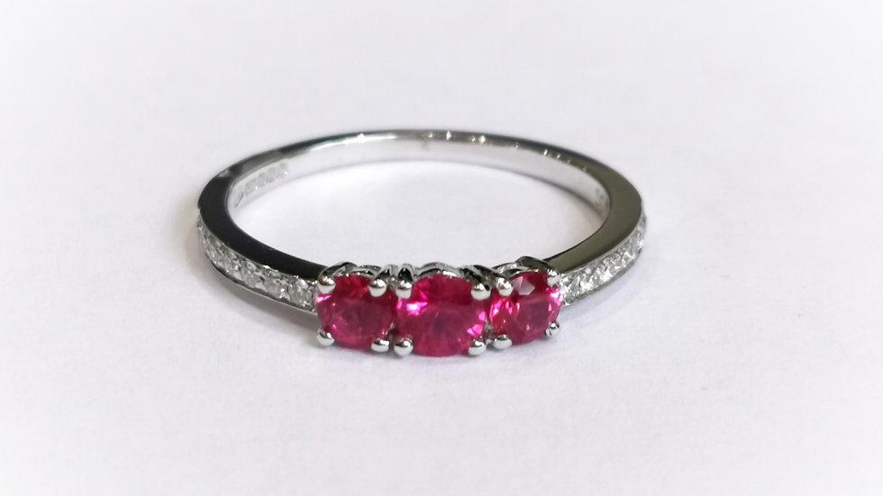 18ct White Gold Three Stone Ruby Ring