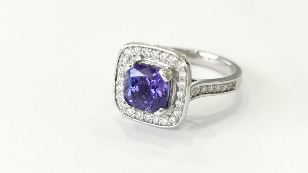 Platinum Tanzanite and Diamond Halo Ring