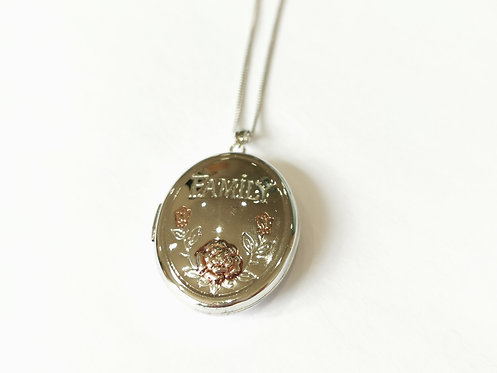 Silver Family Locket on Chain