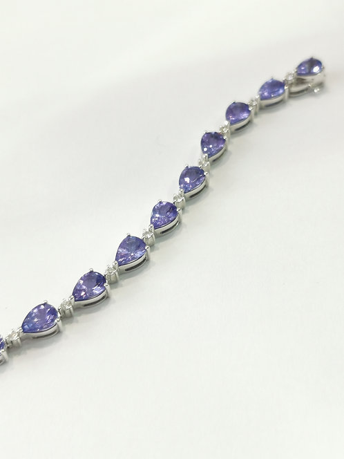 18ct White Gold Tanzanite and Diamond Bracelet