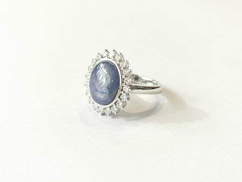 18ct White Gold Star Sappire and Diamond Ring