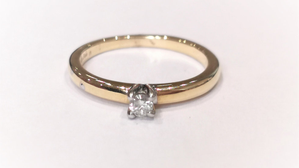 18ct Yellow Gold Mini Diamond Solitaire Ring