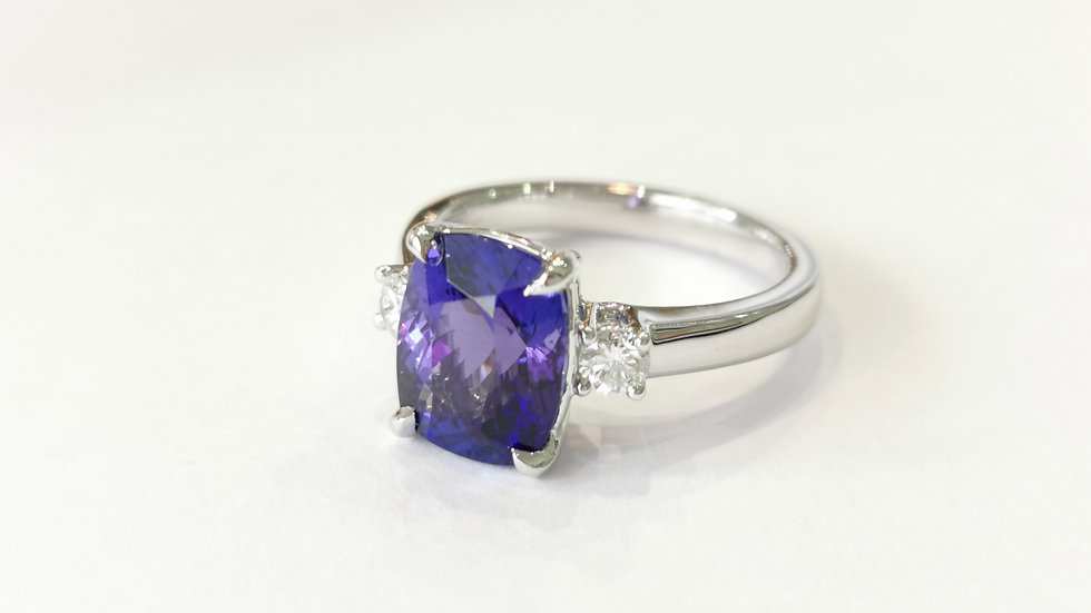 Platinum Tanzanite and Diamond Three Stone Ring