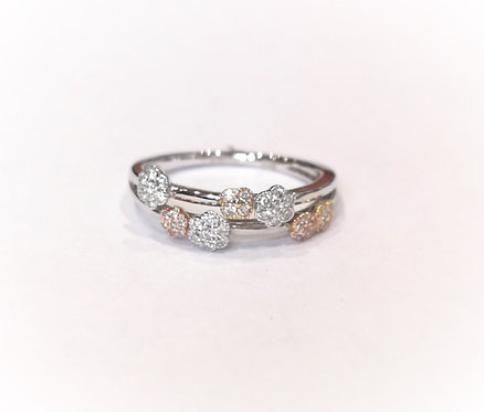18ct White Gold Two Row Tri-Colour Flower Diamond Dress Ring