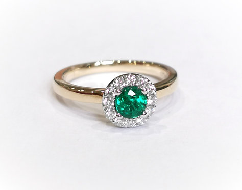 18ct Yellow Gold Emerald and Diamond Halo Ring