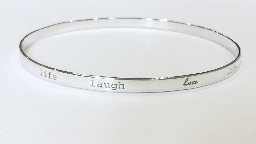 Silver 'Life, Laugh, Love' Slave Bangle