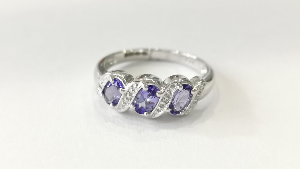 9ct White Gold Tanzanite and Diamond Twist Ring