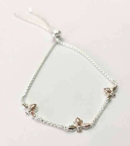 Silver and Rose Gold Plated Bee Toggle Bracelet