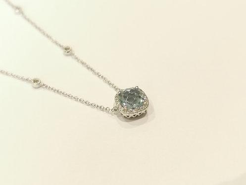 9ct White Gold Aquamarine and Diamond Necklace