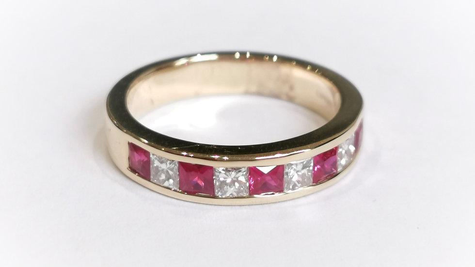 18ct Yellow Gold Princess Cut Ruby and Diamond Half Eternity Ring