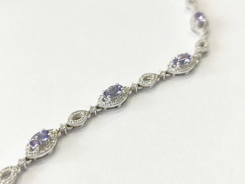 18ct White Gold Tanzanite and Diamond Bracelet