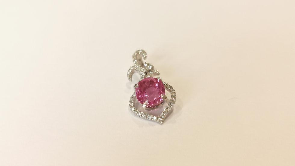 18ct White Gold, Pink Sapphire and Diamond Pendant