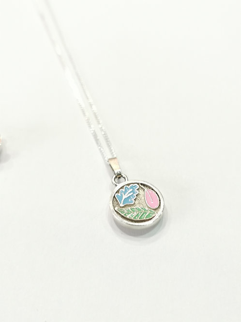 Silver and Enamel Leaf Necklace
