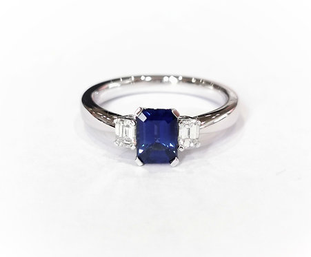 18ct White Gold Emerald Cut Sapphire and Diamond Ring