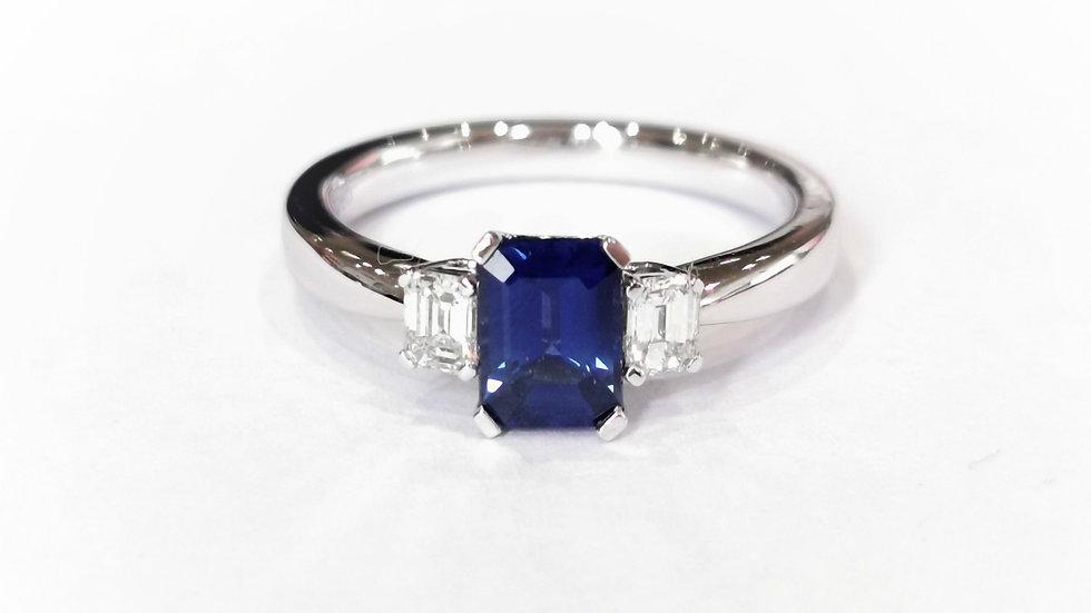 18ct White Gold Emerald Cut Sapphire and Diamond Ring