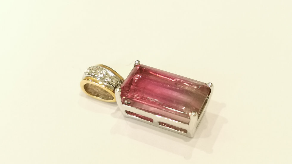 18ct Yellow and White Gold Pink Tourmaline and Diamond Pendant