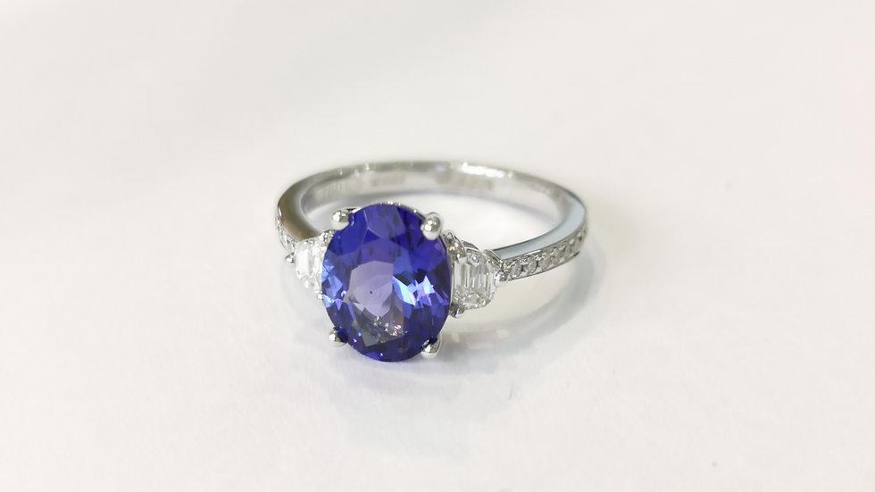 18ct White Gold Tanzanite and Diamond Three Stone Ring