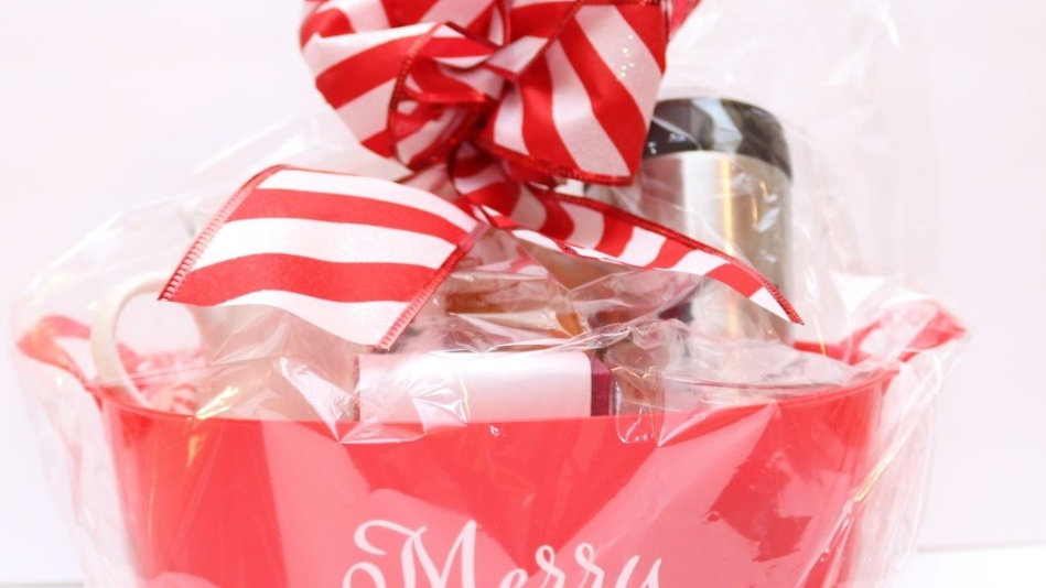 Christmas Basket customized  with company logo on travel mug and coffee mug
