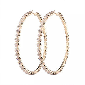 Lori Gold Crystal Hoop Earrings