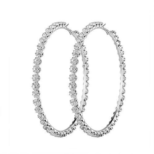 Lori Silver Crystal Hoop Earrings
