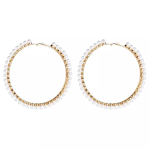 Lori Gold Pearl Hoop Earrings