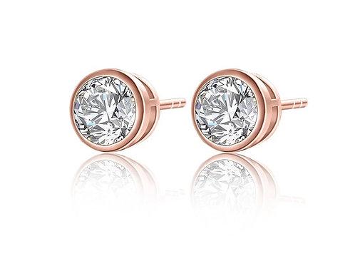 Kylie 18ct Rose Gold Crystal Stud Earrings