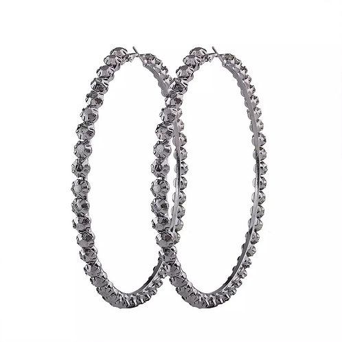 Lori Black Crystal Hoop Earrings