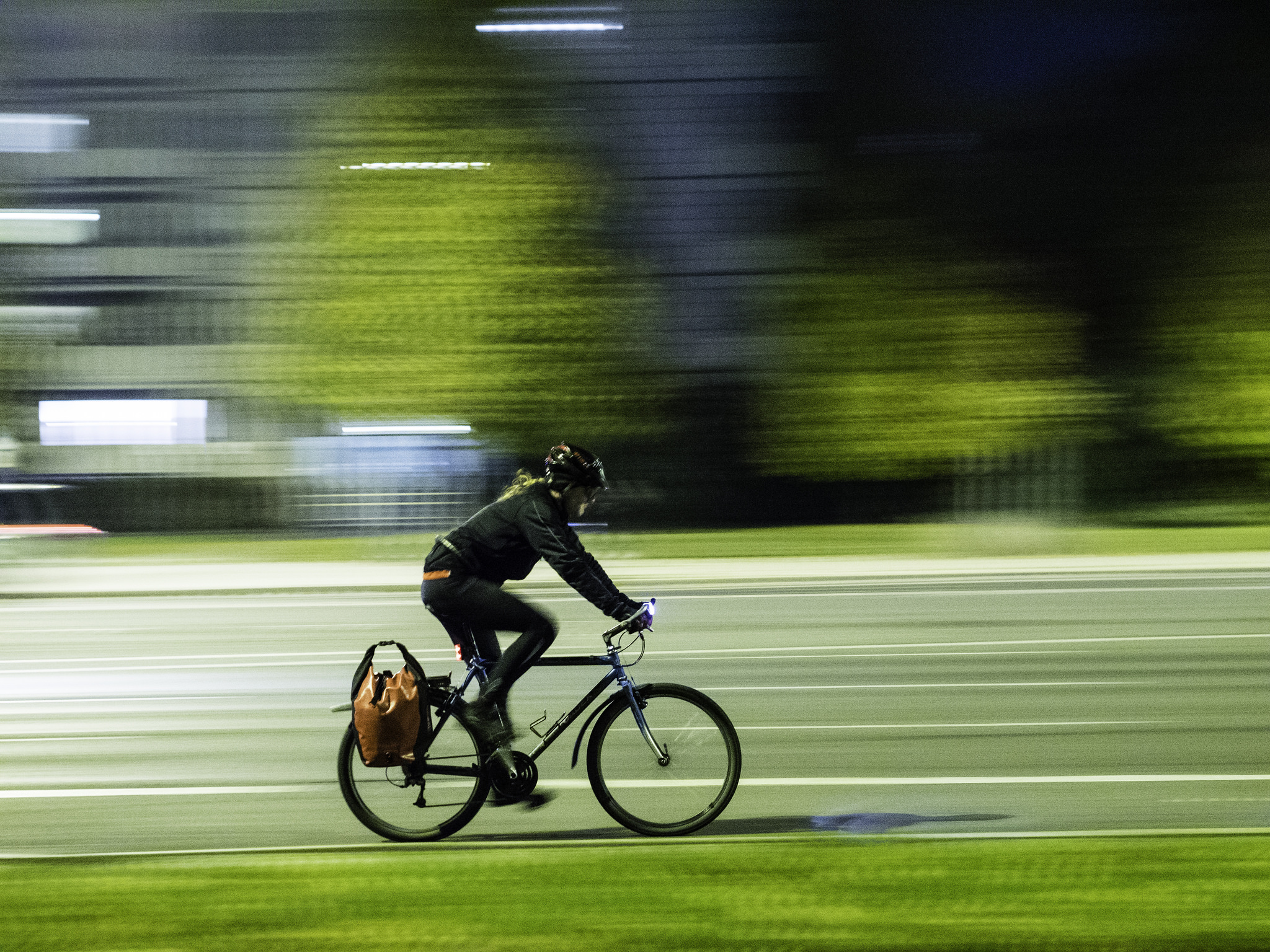 Man on Bike; Night