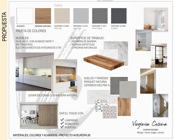 Moodboard de materiales para vivienda