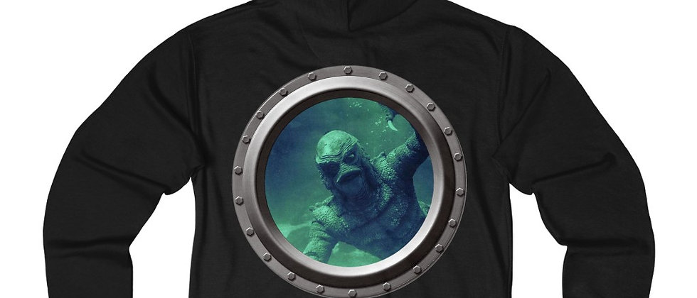 The Creature From The Black Lagoon Porthole Unisex French Terry Zip Hoodie
