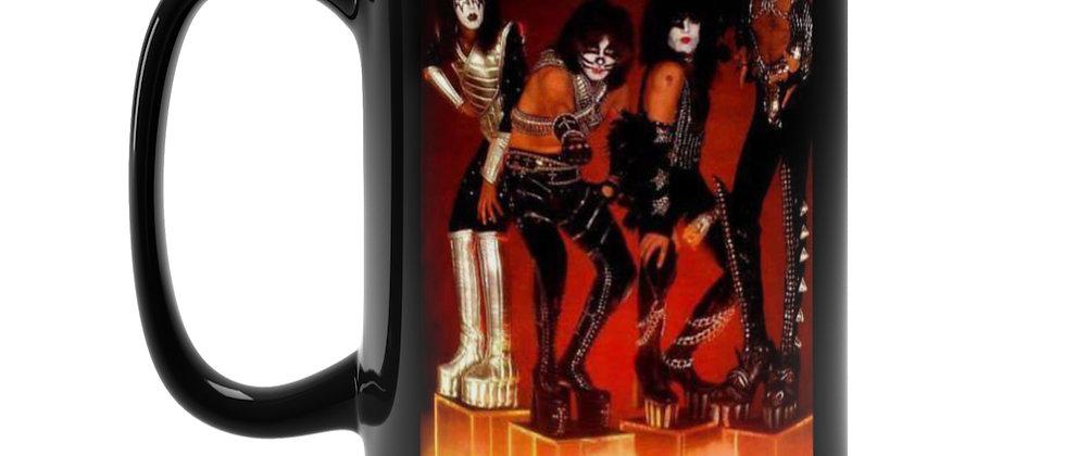 KISS Love Gun era on cubes  Black Mug 15oz