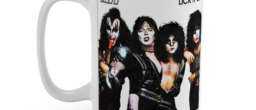 KISS Lick it up IN COSTUME with make up on white Mug 15oz