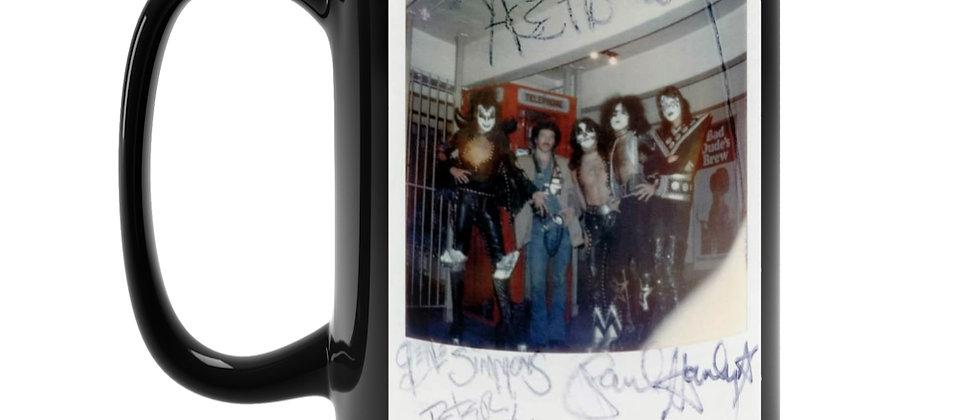 KISS Autographed Polaroid '74 Black Mug 15oz
