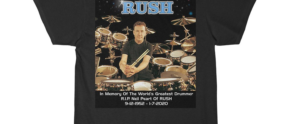 Neil Peart of RUSH On The Drums R.I.P.  The Professor at Work Short Sleeve Tee