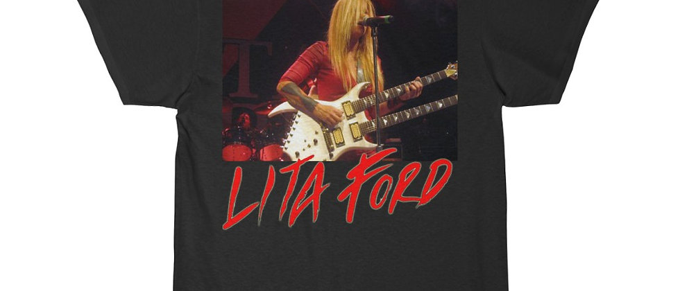 LITA FORD with a BC Rich Bich Doubleneck Guitar Short Sleeve Tee