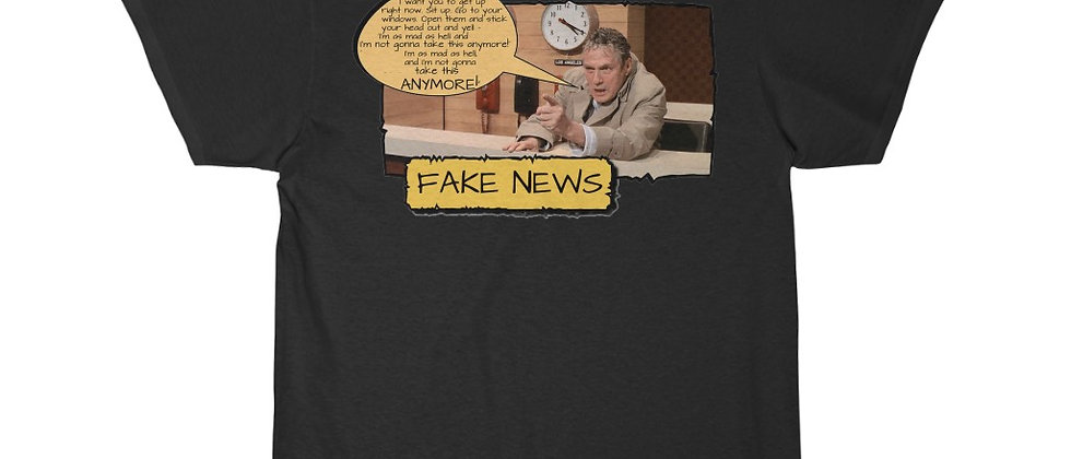 COOL SHIRTS,COOL MOVIE SHIRTS, COOL MOVIES,NETWORK,Fake News I'm Mas As Hell and I'm Not Gonna Take it  Men's Short Sleeve Te