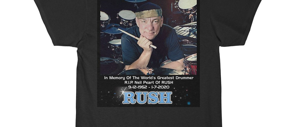 Neil Peart of RUSH Drums R.I.P. 5 The Professor Short Sleeve Tee