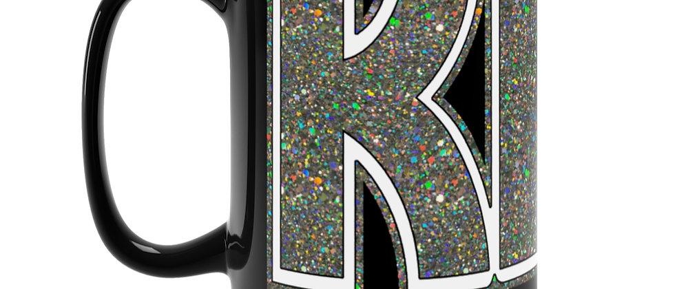 KISS Silver Glitter logo Black Mug 15oz