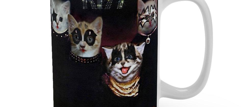KISS Kittens 1st record Cat Rock  Mug 15oz