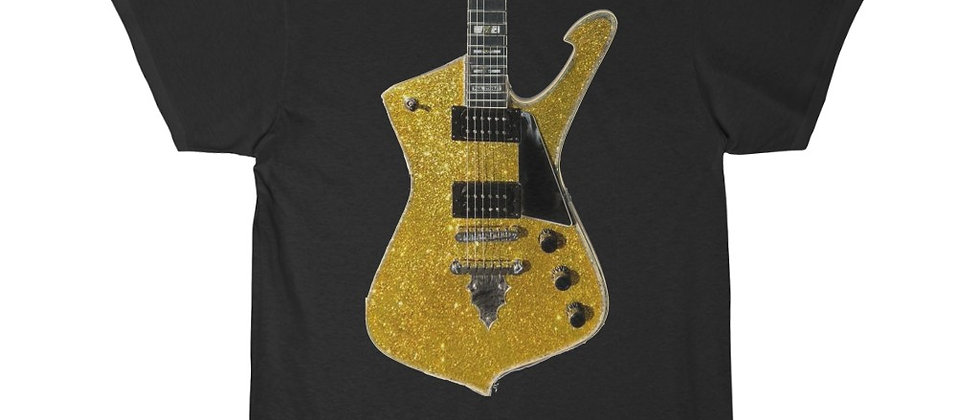 KISS Paul Stanley Ibanez PS-10 Iceman Gold Glitter Guitar Short Sleeve Tee