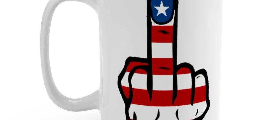 American Finger on white Mug 15oz