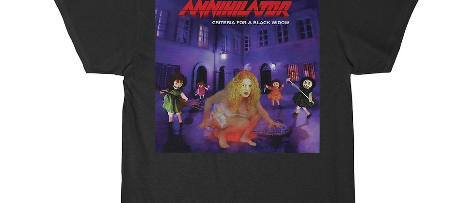 Annihilator Criteria for a Black Widow cover Special 2 sided Short Sleeve Tee
