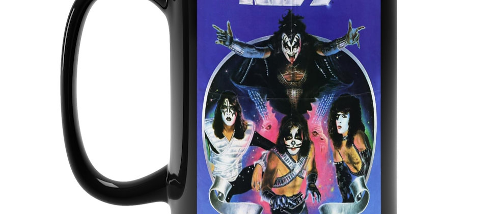 KISS poster from 2nd Marvel comic book Black Mug 15oz
