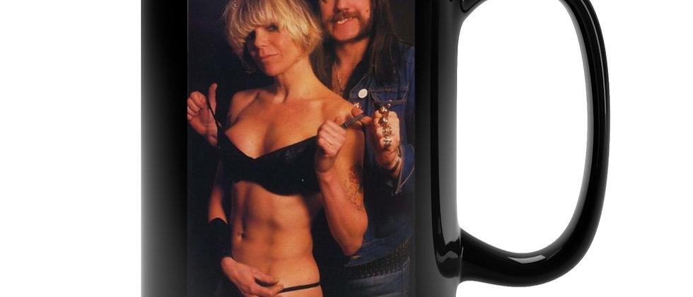 Lemmy and Wendy O. in color on  Black Mug 15oz