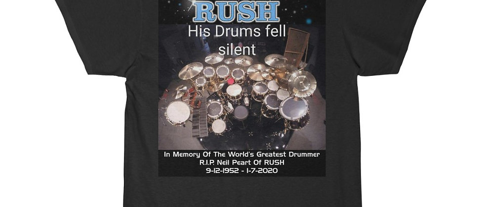Neil Peart of RUSH Drums R.I.P. His Drums Fell Silent Short Sleeve Tee