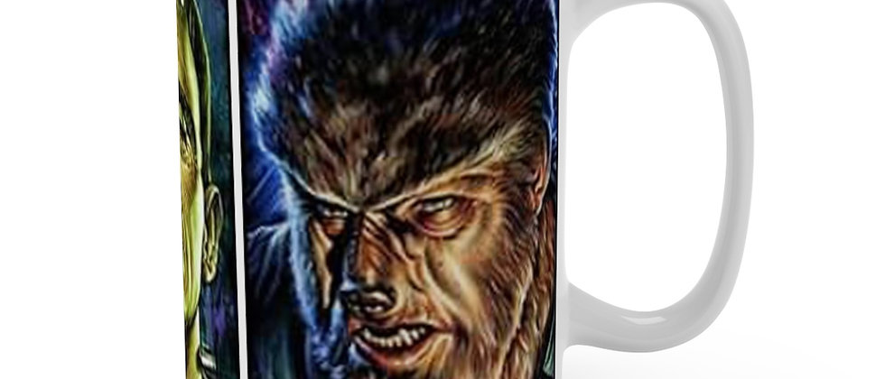 Dracula Frankenstein Wolfman white Mug 15oz