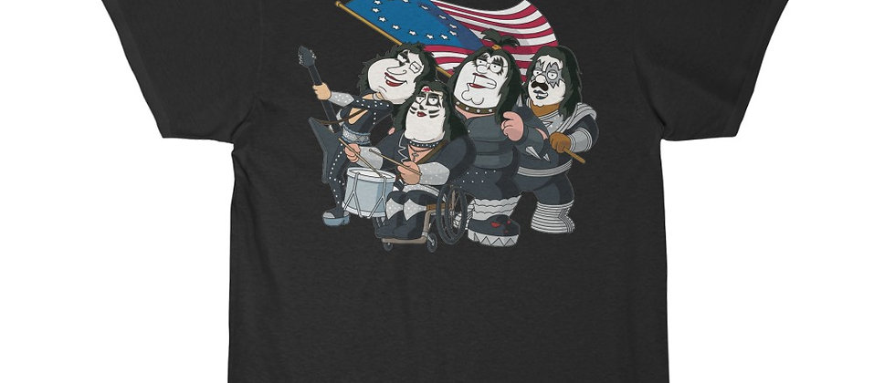KISS, PAUL STANLEY, FAMILY GUY, T SHIRT, GENE SIMMONS, ACE FREHLEY, PETER CRISS, END OF THE ROAD