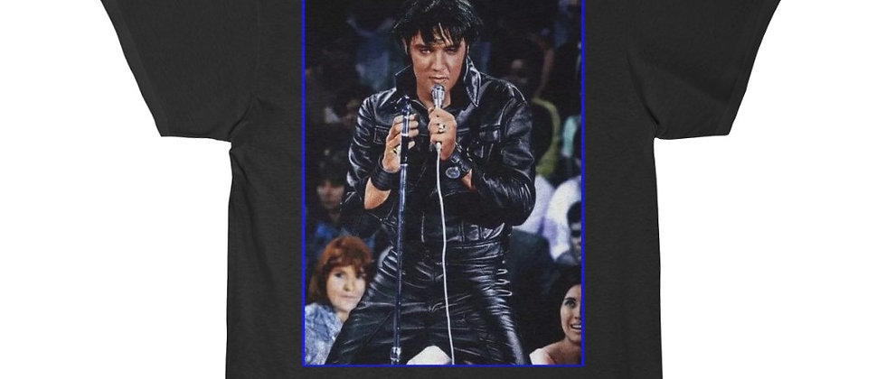 ELVIS in Black Leather  Men's Short Sleeve Tee